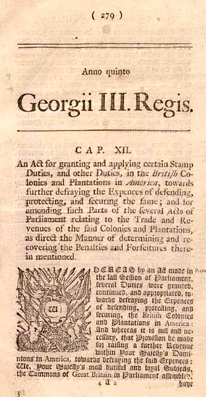 A Newspaper Posting Of The Text Stamp Act Which Reads An