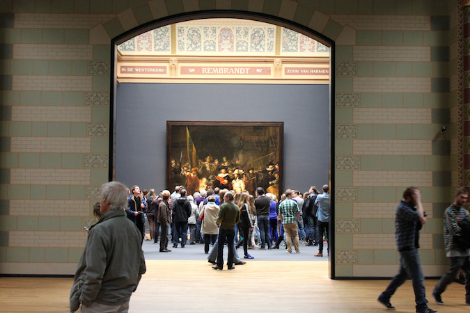 A view to Rembrandt's Night Watch at the Rijksmuseum, Amsterdam