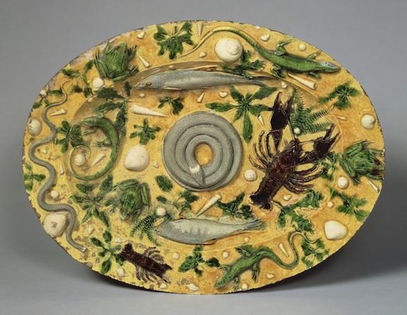 Attributed to Bernard Palissy, Oval Basin, c. 1550, lead-glazed earthenware, 18 7/8 x 14 1/2