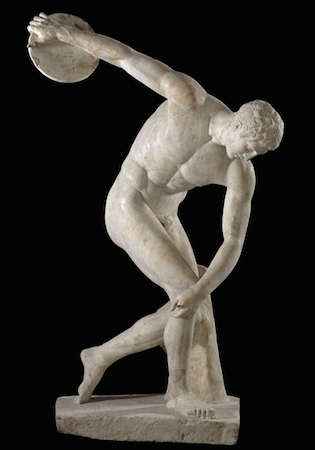 Discus-thrower (discobolus), Roman copy of a bronze original of the 5th century B.C.E., from Hadrian's Villa in Tivoli, Italy © Trustees of the British Museum