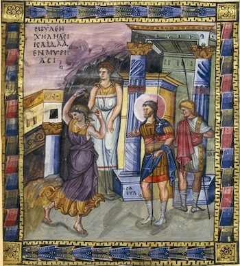 David Glorified by the Women of Israel, from The Paris Psalter,