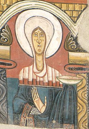Mary (detail), Master of Taüll, apse painting, Sant Clement (Museu Nacional d'Art de Catalunya - MNAC, Barcelona)