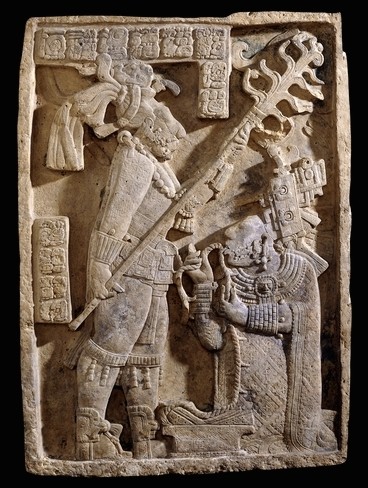 Yaxchilán lintel 24, structure 23, after 709 C.E., Maya, Late Classic period, limestone, 109 x 78 x 6 cm, Mexico © Trustees of the British Museum