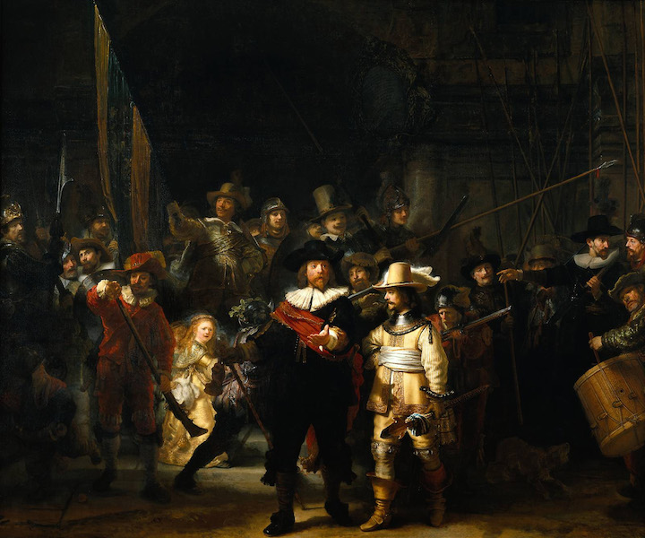 "Rembrandt, Officers and Men of the Company of Captain Frans Banning Cocq and Lieutenant Wilhelm van Ruytenburgh, Known as ""The Night Watch,"" oil on canvas, 379.5 x 453.5 cm (Rijksmuseum, Amsterdam)"