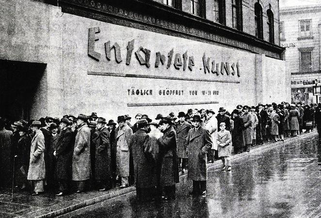 Opening of the Entartete Kunst exhibition at the Schulausstellungsgebaude, Hamburg, 1938