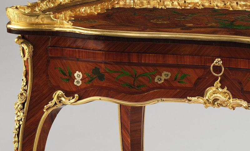 Ornate decoration and compartment (detail), Bernard II van Risenburgh, Writing table (Table à écrire), c. 1755, oak veneered with tulipwood, kingwood, amaranth, mahogany, ebony, mother-of-pearl, stained horn; gilt-bronze mounts and modern velvet, 78.1 x 96.5 x 57.5 cm (The Metropolitan Museum of Art)