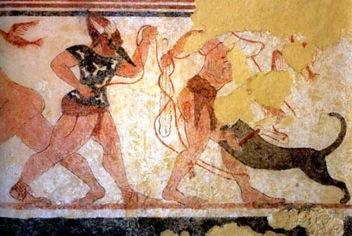 Phersu and his victim, Tomb of the Augurs, (late 6th century B.C.E., Tarquinia)