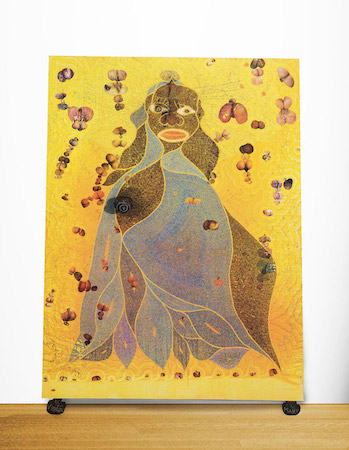 Chris Ofili, The Holy Virgin Mary, 1996, paper collage, oil paint, glitter, polyester resin, map pins & elephant dung on linen, 243.8 x 182.9 cm, © Chris Ofili