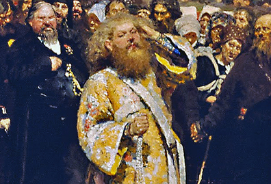 Priest in gold vestments (detail), Ilya Repin, Krestny Khod (Religious Procession) in Kursk Gubernia, 1880-83, oil on canvas, 175 x 280 cm (State Tretyakov Gallery, Moscow)