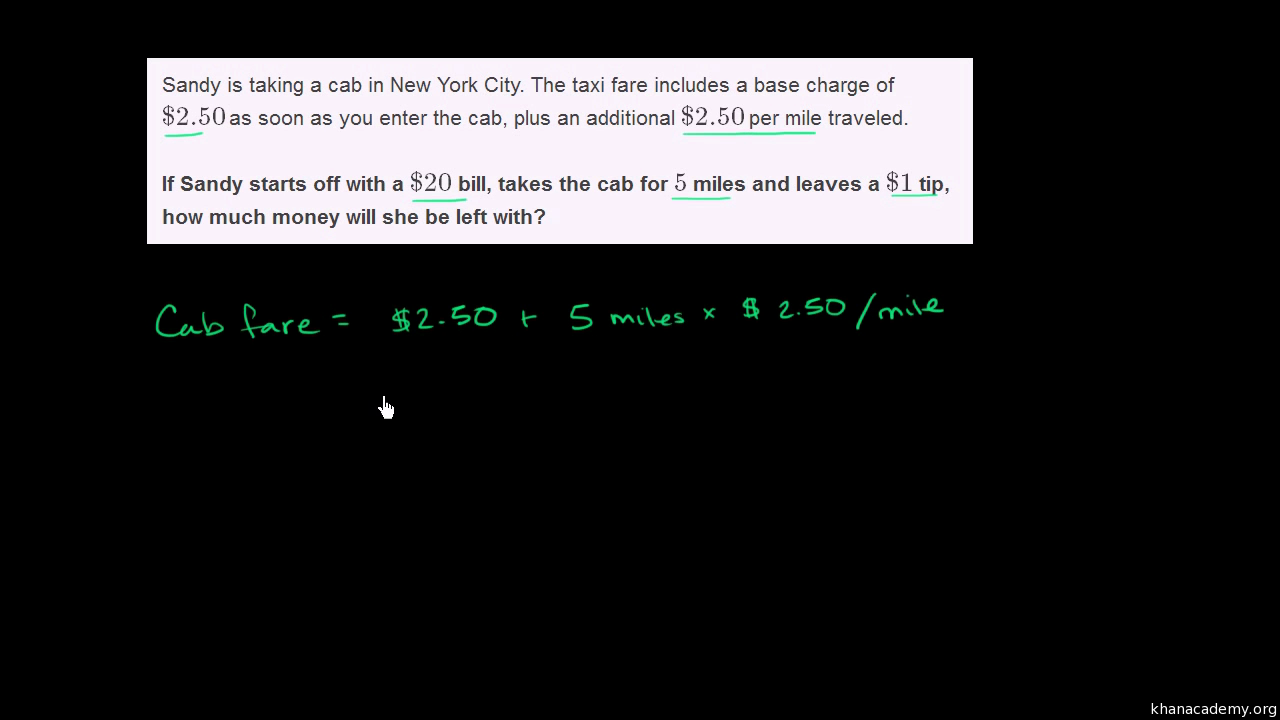 Rational number word problem: cab (video)   Khan Academy