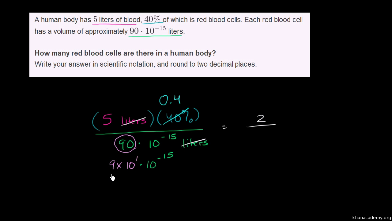 Scientific notation word problem: red blood cells (video