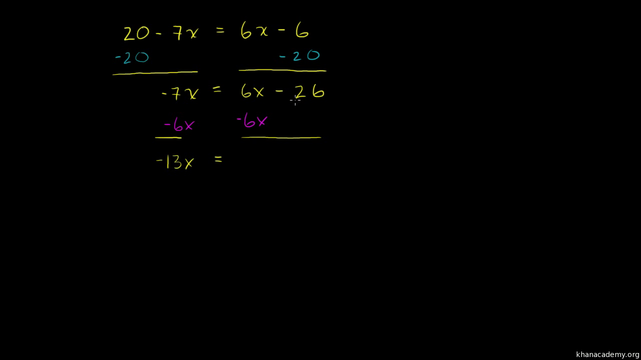 Equations with variables on both sides (practice) | Khan Academy