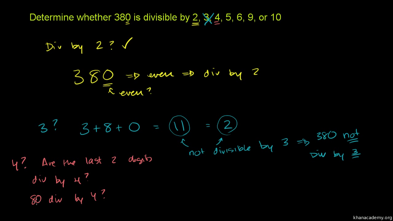 Recognizing Divisibility Video Khan Academy