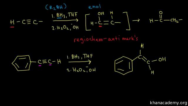 Hydroboration-oxidation of alkynes (video) | Khan Academy