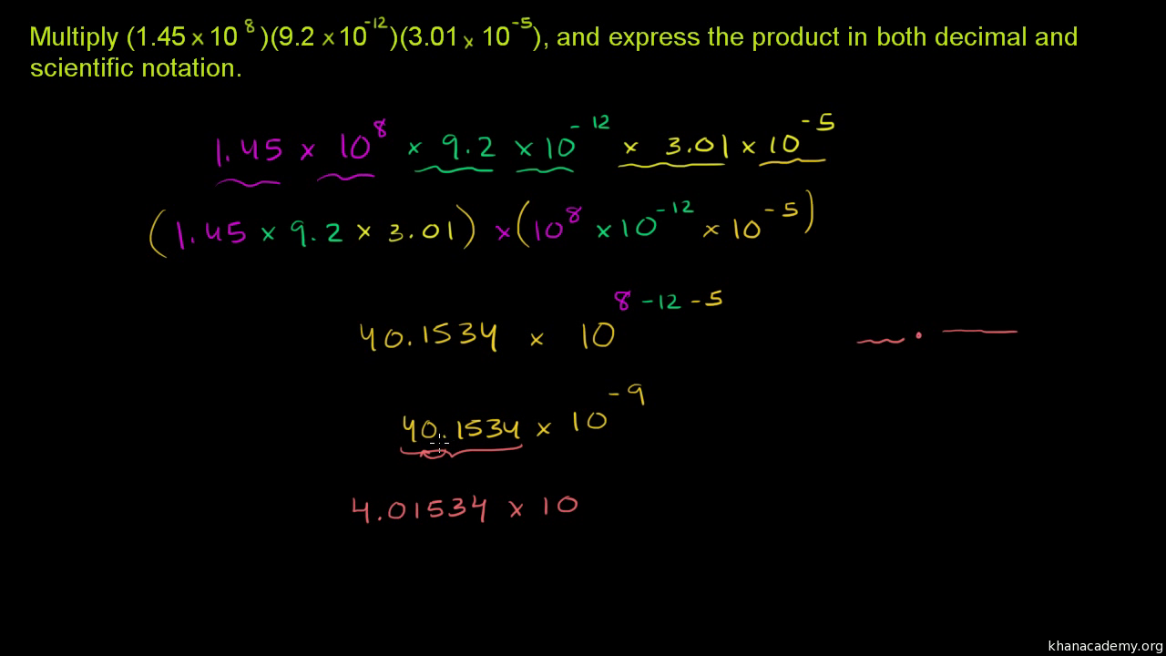 Multiplying Dividing In Scientific Notation Practice Khan Academy