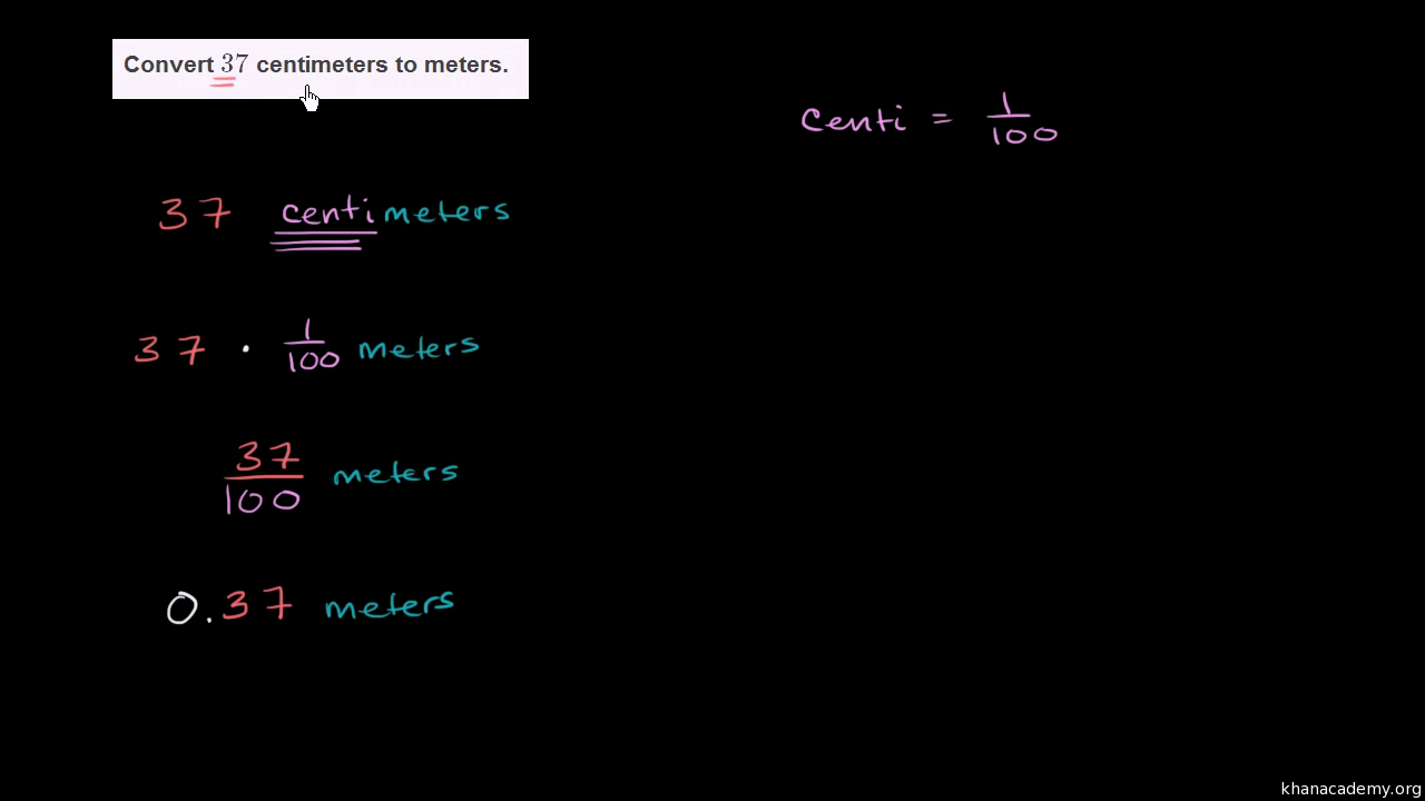 Converting Centimeters To Meters Cm M Measurement Video Khan Academy
