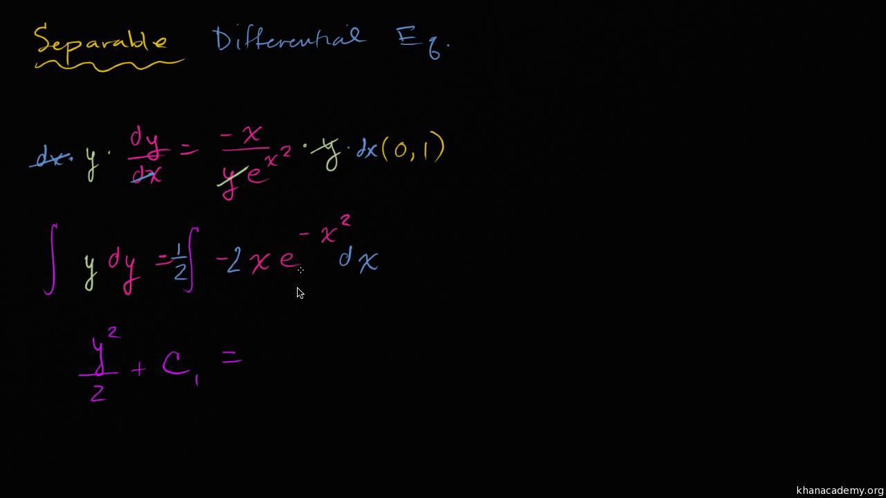 Separable differential equations (practice) | Khan Academy