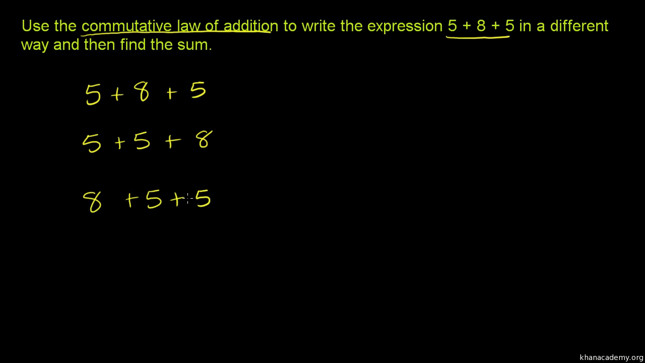 commutative law of addition video  khan academy