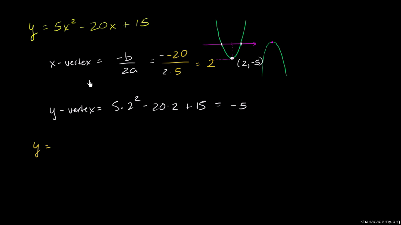 standard form to vertex form khan academy  Finding the vertex of a parabola in standard form (video ...