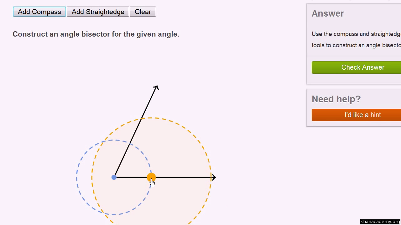 Geometric constructions: angle bisector