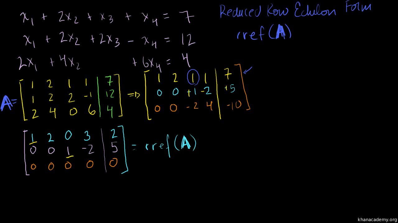 Solving a system of 3 equations and 4 variables using matrix