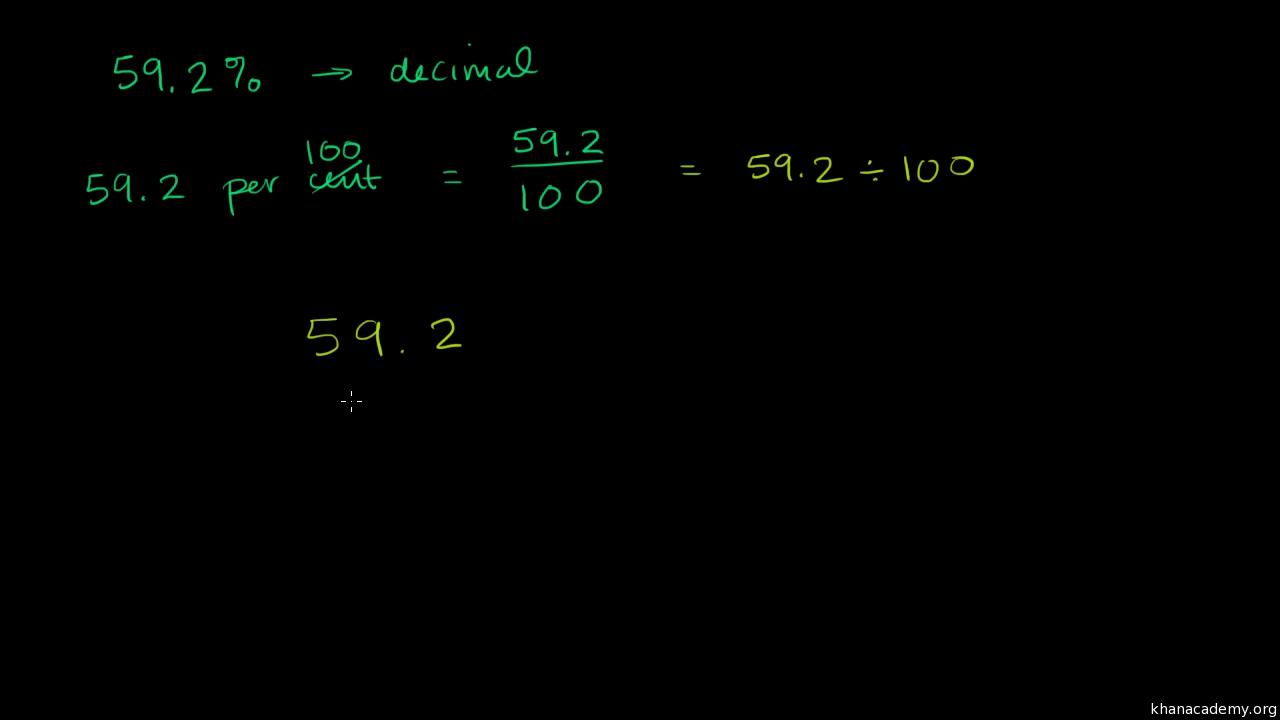 Converting percents to decimals: 59 2% (video) | Khan Academy