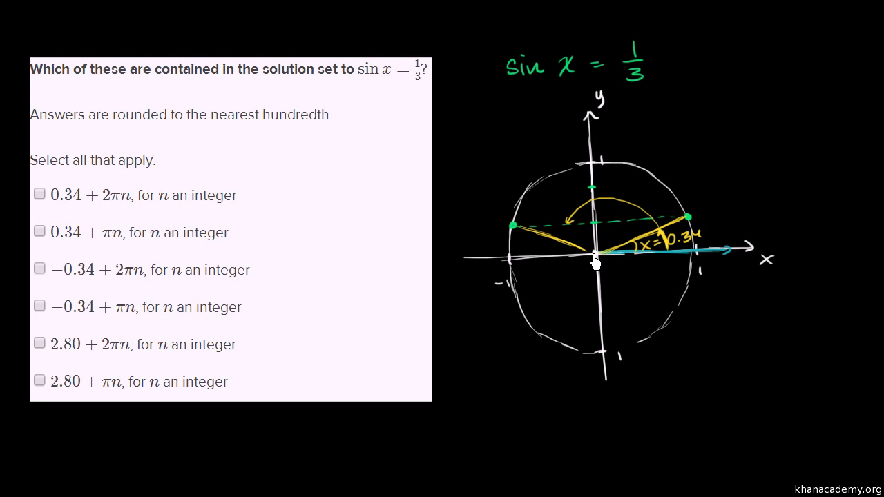 Solving Sinusoidal Equations Of The Form Sin X D Video Khan Academy
