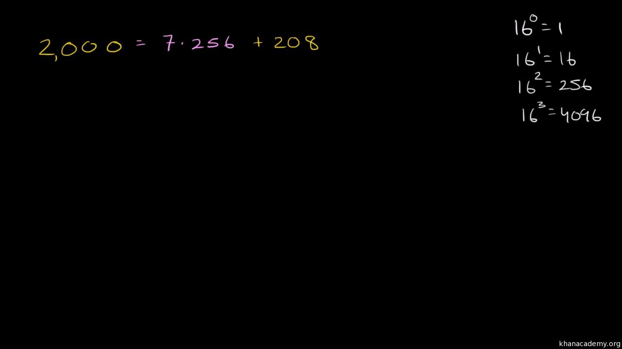 Converting from decimal to hexadecimal representation (video