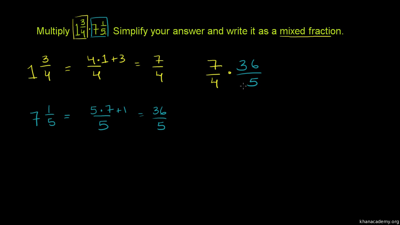 Multiplying Mixed Numbers Video Khan Academy