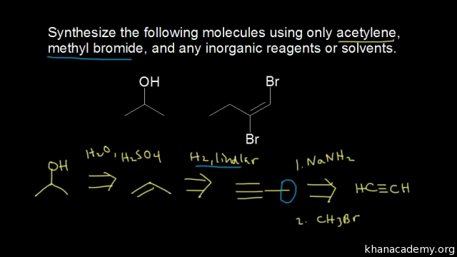 Synthesis using alkynes (video) | Khan Academy