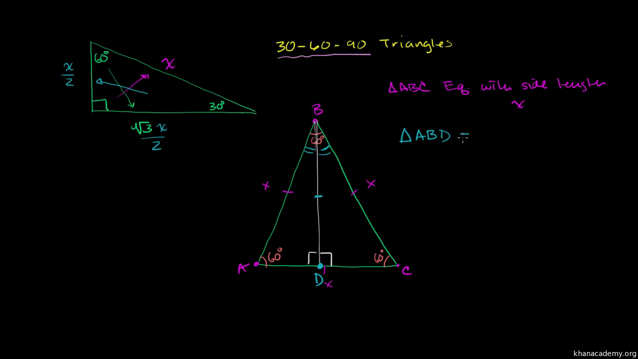 Special right triangles proof (part 1) (video)   Khan Academy