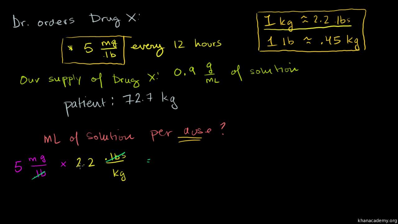 Multiple units word problem: drug dosage (advanced) (video