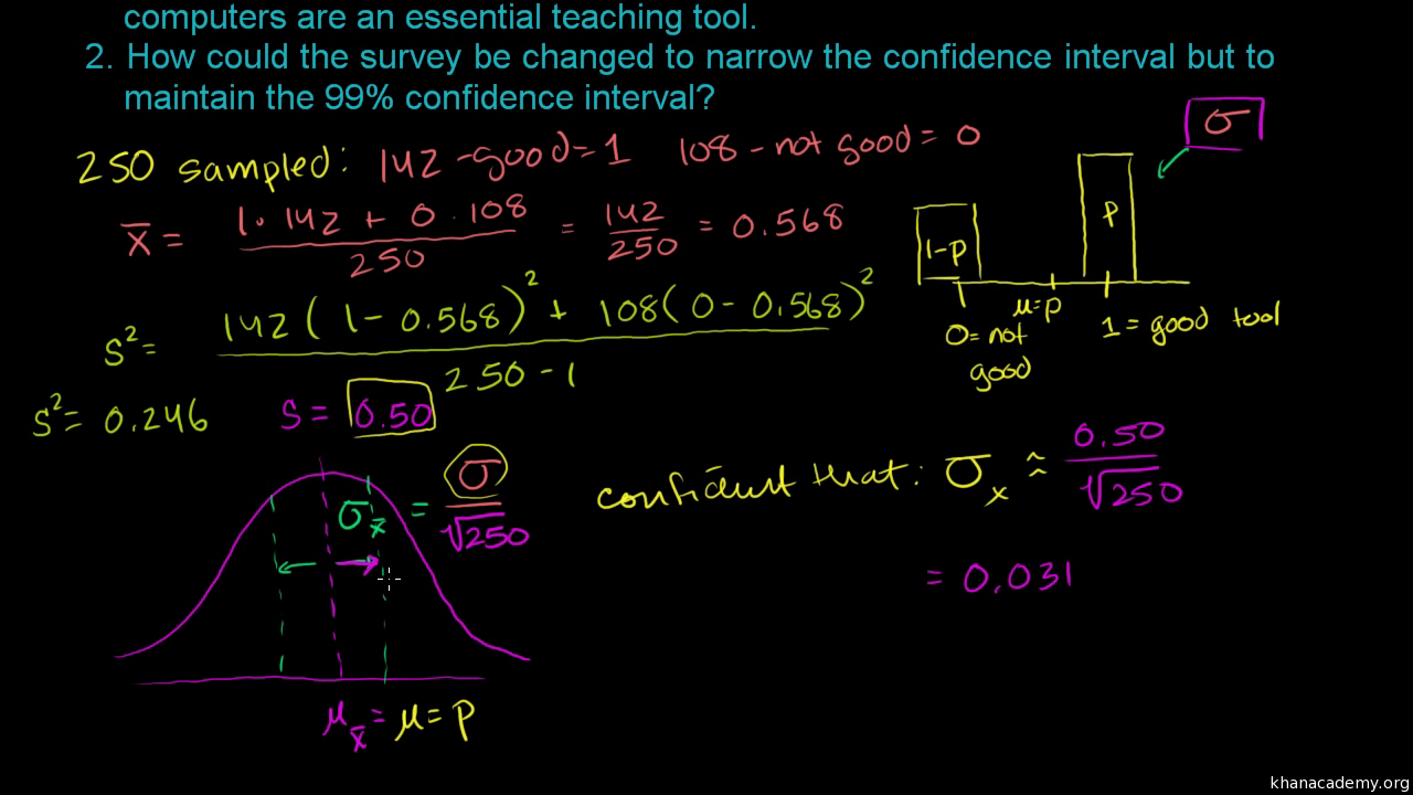 Confidence Interval Example Video Khan Academy