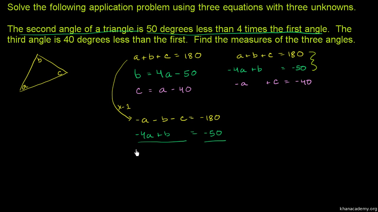 3-variable linear system word problem
