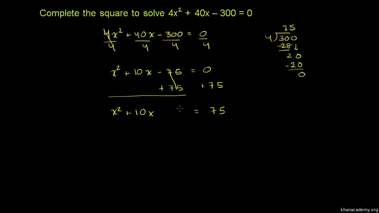 Worked example: completing the square (leading coefficient ≠ 1)