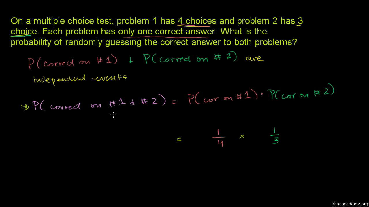 Independent events example: test taking (video) | Khan Academy