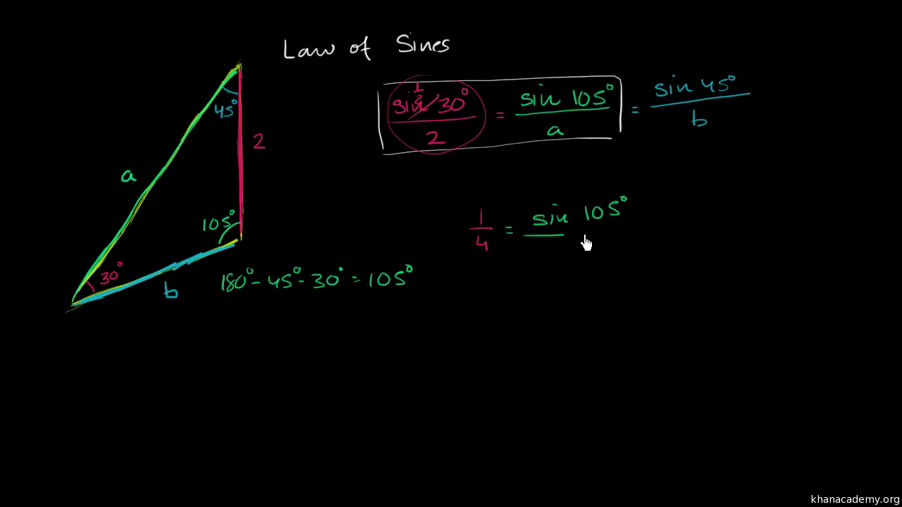Law Of Sines Solving For A Side Trigonometry Video Khan Academy