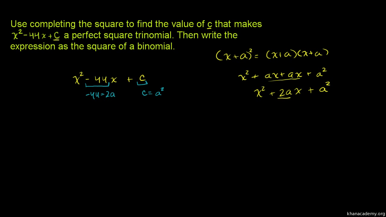 Worked example: Complete the square (video) | Khan Academy