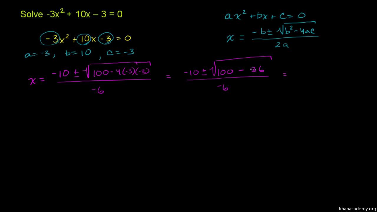 21284358a5a Solve quadratic equations with the quadratic formula (practice ...