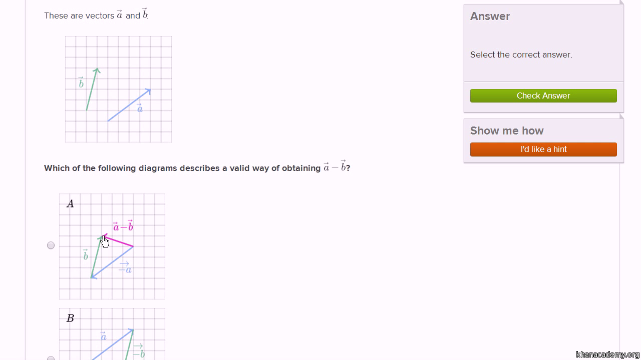 graphically add  subtract vectors practice  khan academy