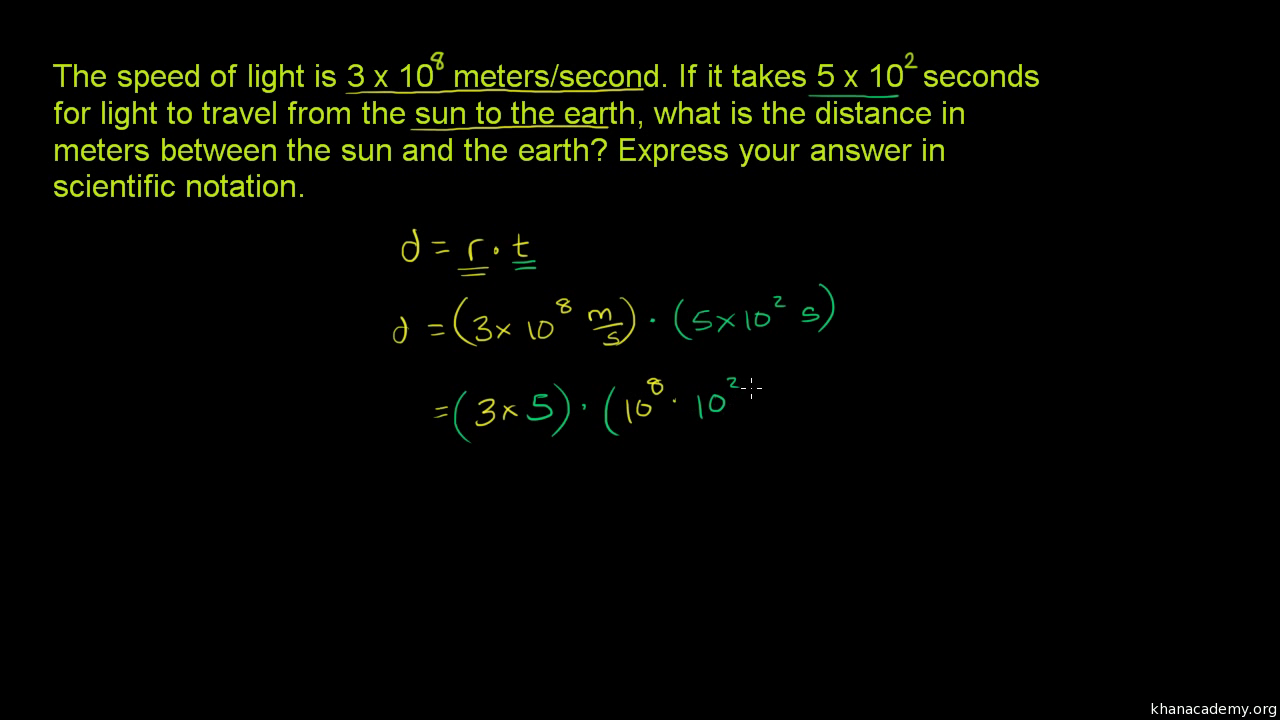 Scientific notation word problem: speed of light
