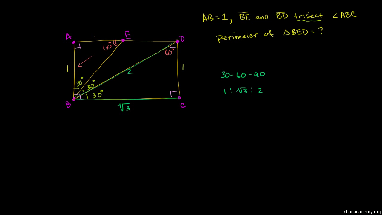 30 60 90 Triangle Example Problem Video Khan Academy