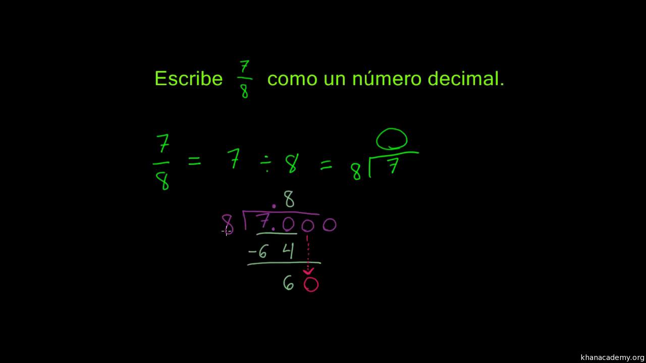 Ejemplo Resuelto Convertir Una Fraccion 7 8 A Decimal Video Khan Academy