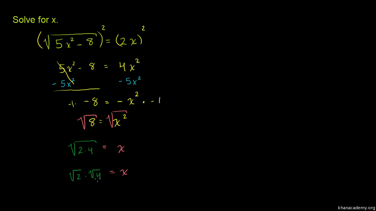 Solving Square Root Equations Basic Video Khan Academy