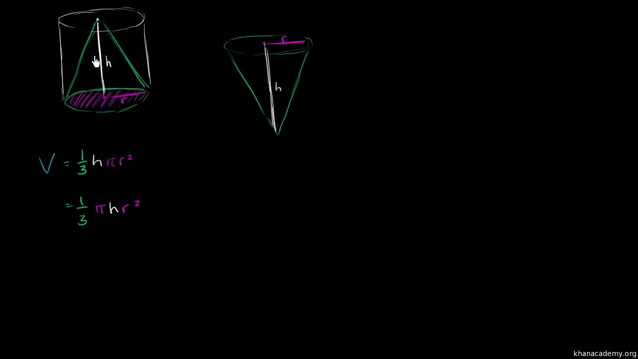 Volume of a cone (formula walkthrough) (video)   Khan Academy
