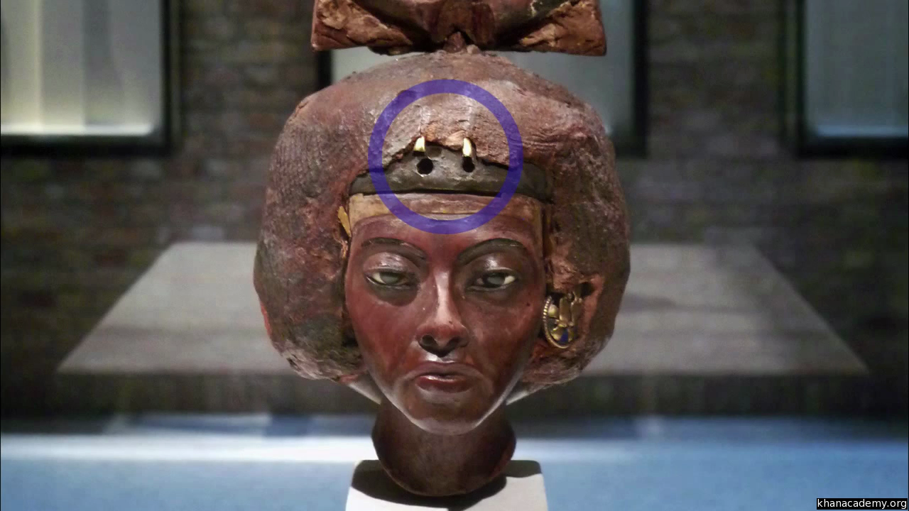 Portrait head of Queen Tiye with a crown of two feathers (video