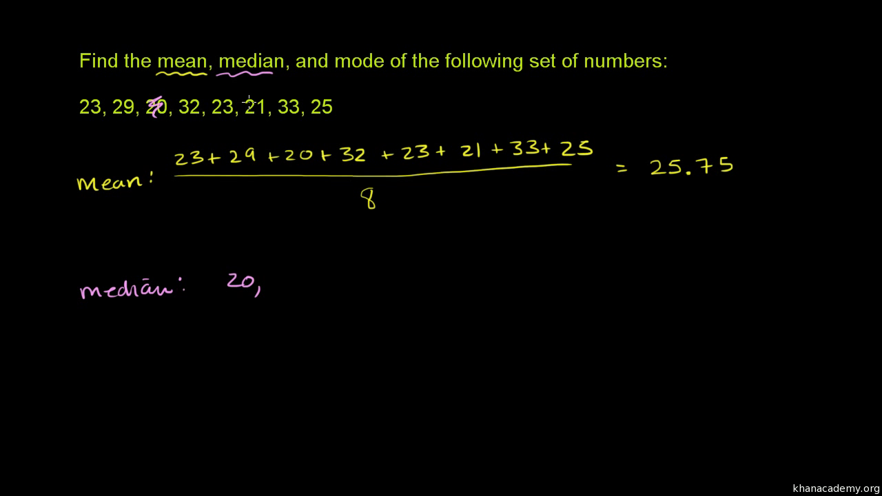 Mean, median, & mode example (video) | Khan Academy