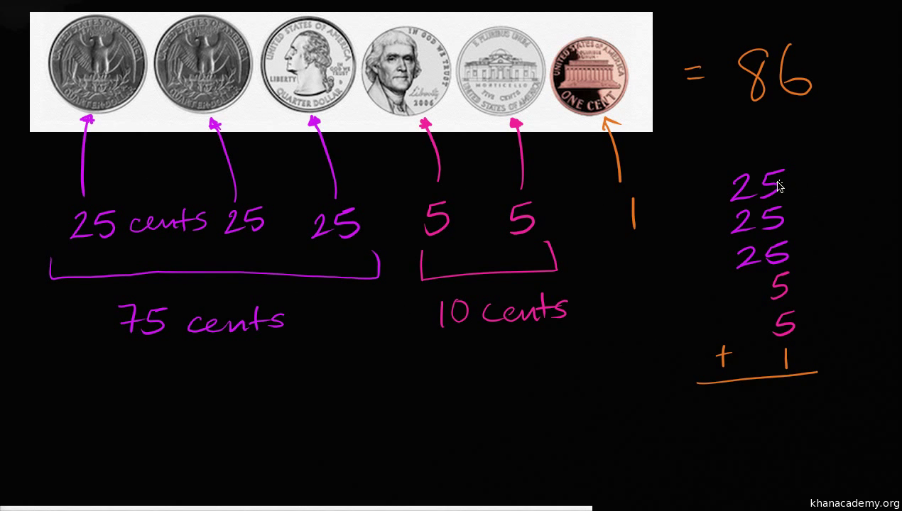 counting american coins (video) money khan academy