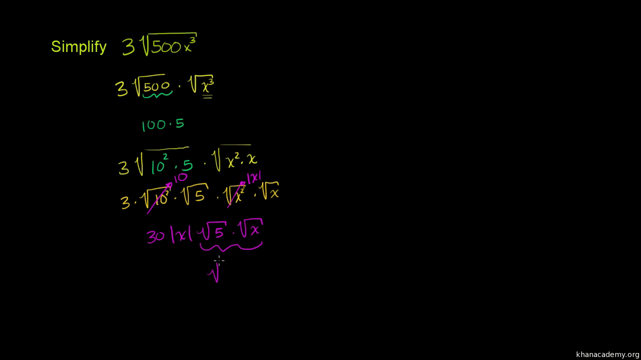 Simplifying square roots (variables) | Algebra (video) | Khan Academy