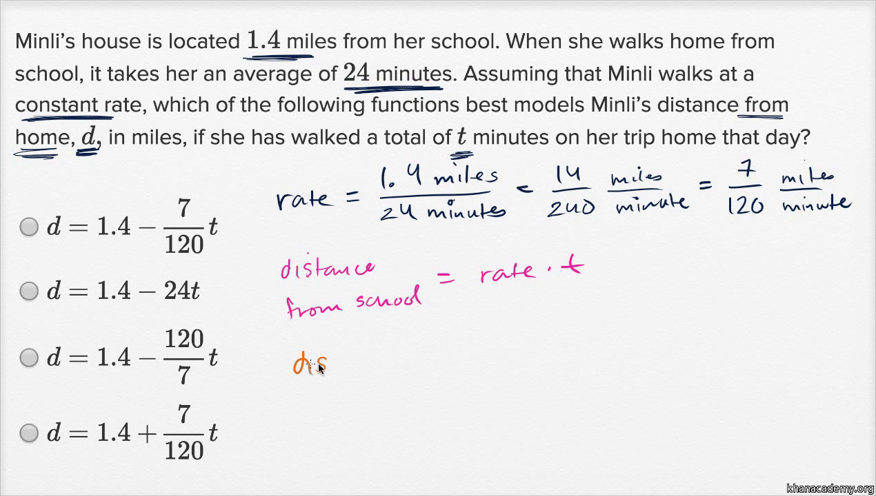 Linear Function Word Problems Harder Example Video Khan Academy